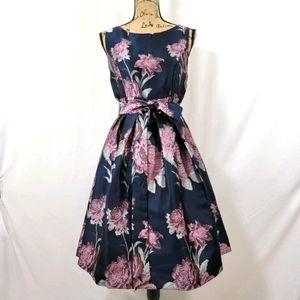 ELIZA J Pleated Foil Floral Women's Dress Navy 10